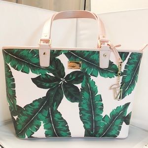 Authentic St. John Rose Gold Palm Leaf Tote